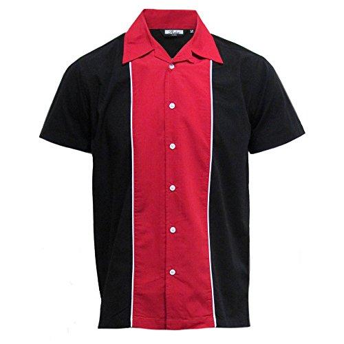 Relco - Herren Hemd kurzärmelig - Baumwolle - Retro/Bowling-Stil - Rot/Schwarz - L (Bowling Shirt Retro)