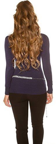 In Style Damen Pullover mit V-Ausschnitt & Strasssteinen verziert Einheitsgröße (32-38) Blau
