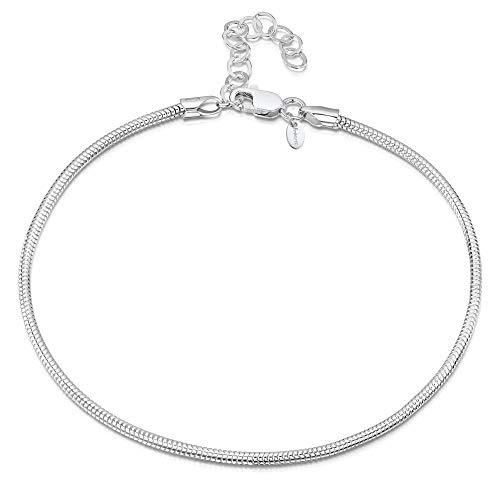 9a54ce387149 Amberta® 925 Fina Plata de Ley - Brazalete de Tobillo - 2 mm Pulsera de