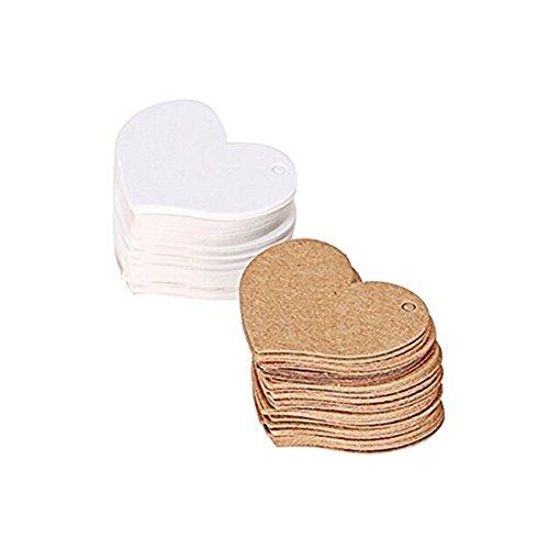 Etiketten Leer Pflanze (Cdet 100 Stück Tag Karte Weißes Herz Geformt Kraftpapier leer Tag / Lesezeichen / Geschenkkarte / Schokolade Verpackungskarte / Drift Flaschenkarte Papieranhänger)
