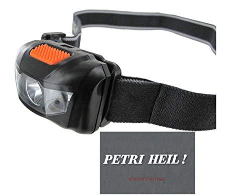 Super helle LED Kopflampe, Stirnlampe von .Jenzi mit UV und Rotlicht Stoboskop/Blinklicht + gratis Petri Heil! Aufkleber