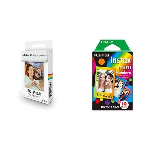 Polaroid 2x3 Zoll Premium ZINK Fotopapier- Kompatibel mit Polaroid Snap, SocialMatic Sofortbildkameras, Zip Sofortbilddrucker & Fujifilm Instax Mini Instant Film, Regenbogen, Einzelpackung