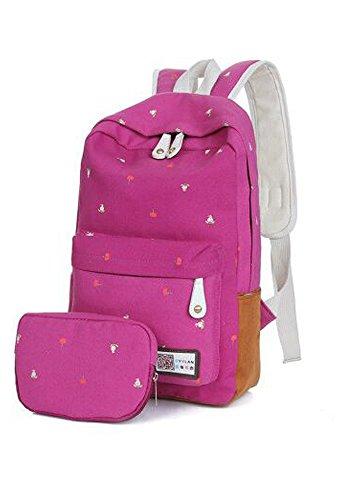 Unisex Canvas Leichte Laptop-Tasche / Schulter Daypack / Modeschule Rucksack / beiläufige Handtasche w / kosmetischer Beutel ( Blau) Hot pink