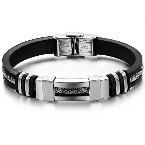 SunnyHouse Jewelry Titanium with Silicon Wrist Band Energy Bracelet Sporting Style Anti-fatigue and Pain Relief in a Gift Box