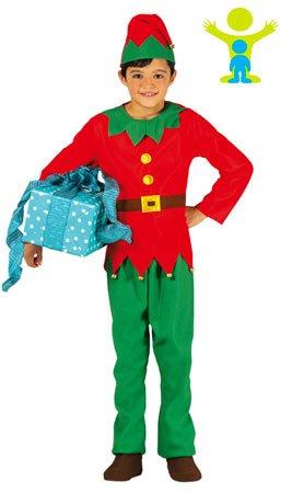 GUIRMA Traje de Elfo Niño 3–4años, Color Rojo y Verde, 42449