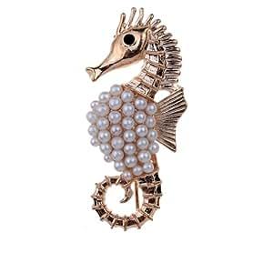 Carino Hippocampus Seahorse spilla d'oro placcato imitazione Perle Spille and Pins per le donne Nozze
