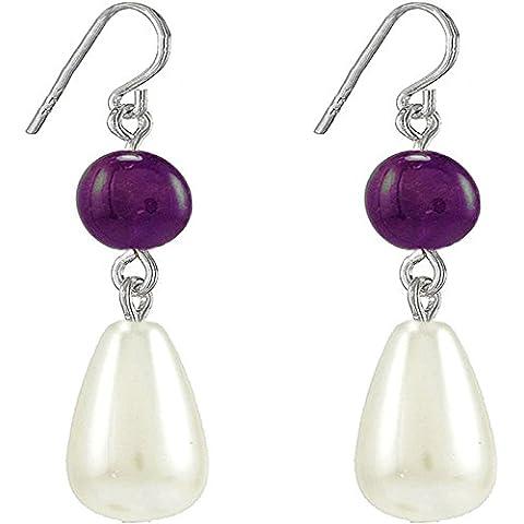 Natural Stone-Orecchini pendenti con perla finta Jewelry-Orecchini, 11 mm, colore: turchese