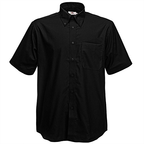 Fruit of the Loom Oxford Short Sleeve Shirt Black