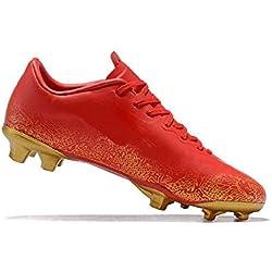 Zapatillas de Deporte Profesionales FG para Hombre Zapatillas sin Cordones Antideslizantes y Transpirables (Color : Rojo, tamaño : EU 39)