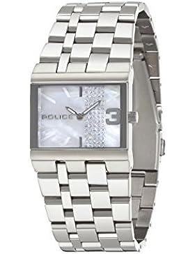 POLICE Damen-Armbanduhr GLAMOUR SQUARE Analog Quarz Edelstahl P10501BS-28MA
