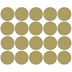 VORCOOL 20 unids Pegatinas de Pared de Círculos Lunares Calcomanías de Pared de Habitación de los Niños Removible 5 cm (Dorado)
