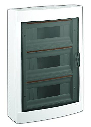 Aufputz Kleinverteiler 36 Module / Sicherungskasten / Verteilerkasten Aufputz IP40, 3-reihig mit Hutschiene + PE/N Klemmen -