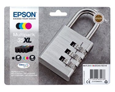 Preisvergleich Produktbild Epson c13t35964020 60.9 ml 41.2 ml schwarz, cyan, gelb Tintenpatrone – Tintenpatrone für Drucker (Epson, Schwarz, Cyan, Magenta, Gelb, WorkForce Pro wf-4740dtwf, WorkForce Pro wf-4725dwf, WorkForce Pro wf-4720dwf, hoch, 41,2 ml, 60,9 ml)
