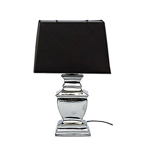 Silber Tischleuchte (DRULINE MAJA 67cm Lampe Tischlampe Shabby Chic Tischleuchte Silber Schwarz Lampen eckig)
