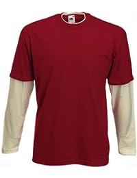 noTrash2003 FRUIT OF THE LOOM Layered T-Shirt für Herren S-XXL vier Farben Langarm-Shirt