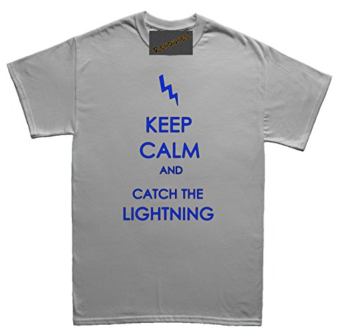 Renowned Keep calm and catch the lightning Herren T Shirt Grau