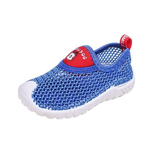 Zegeey Enfant Chaussons Aquatiques Mesh Running Sneakers Sandales Eté Sandales en Maille Mixte Enfants,Running Baskets Chaussures Outdoor Sport Respirante Chaussures de Plage et Piscine(D-Bleu,22)