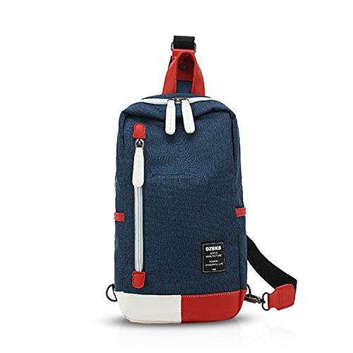FANDARE Rucksack Sling Bag Umhängetasche Messenger Tasche Schultertasche Reisen Wandern Daypack Crossbag Chest Pack Leicht Polyester Blau -