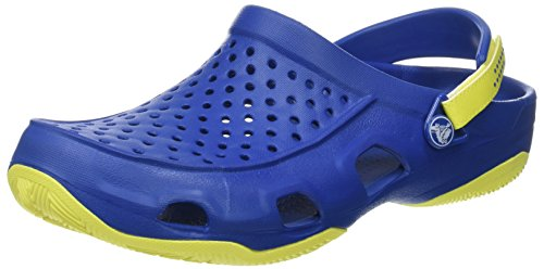 Crocs Swiftwater Deck Clog Men, Herren Clogs, Blau (Blue Jean/tennis Ball Green), 42/43 EU -