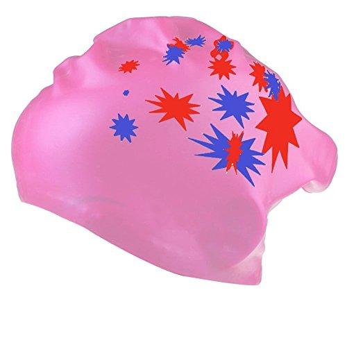 TININNA Stern Muster Wasserdicht Silikon Schwimmkappe Badekappe Badehaube Schwimmhaube Bademütze Swim Swimming Cap für Lange Haare Gesund rosa
