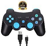 TPFOON PS3 Manette de Jeu Bluetooth sans Fil Joystick Playstation 3 Double Choc, y Compris Le câble de Charge