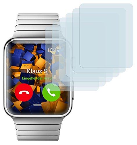 mumbi Schutzfolie kompatibel mit Apple Watch 42mm Folie klar, Displayschutzfolie (6x)