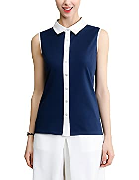 Sticky Finger Ladies Sleeveless Shirt Collar 100% Cotton Mercerized Top