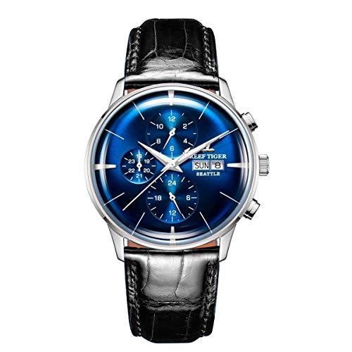 REEF TIGER Herren Uhr analog Automatik mit Leder Armband RGA1699-YLB