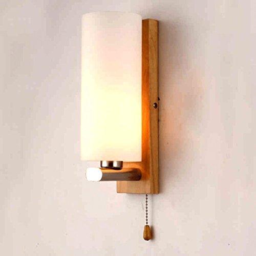bois nordique simple, lampe de chevet de mur lampe avec interrupteur LED mur miroir feu avant lampes mode créatif escaliers lampe allée