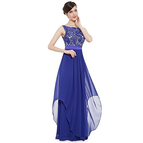 WintCO Damen Elegantes Langes Abendkleid Rueckenfreie Maxikleid Bodenlang Partykleid Cocktailkleid (M, blau)
