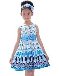 Para 2–6años niñas, deloito niños lazo cinturón burbuja pavo real vestidos fiesta vestido vestidos verano