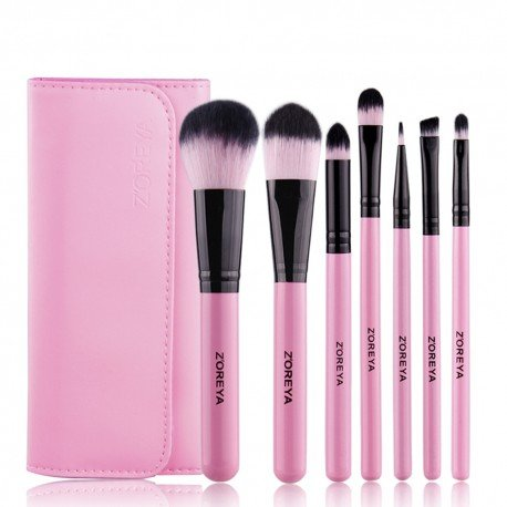 Mini kit de 7 pinceaux maquillage - Rose