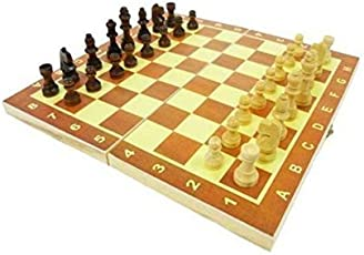 WireScorts Jumbo Biggest Folding Strong Wooden Chess Board with White & Brown Wooden Coins. 10 X 10 inch