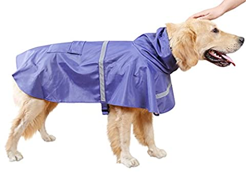 Pet Lightweight Raincoat - Reflective Rain Cape Poncho with Leash Hole Shrug Jacket with Hood For Dogs