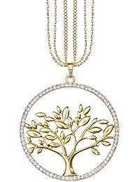Mianova Damen Lange Halskette Lebensbaum mit Swarovski Elements Kristall acf6a4cabc