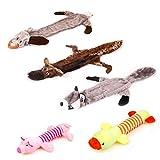 Vindar Hundespielzeug aus Cord, mit 3 Quietschern, quietschendes Kauspielzeug für große und mittelgroße Kleine Hunde, 5 Stück
