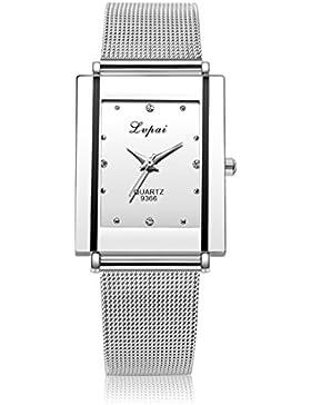 Souarts Damen Herren Armbanduhr Einfach Mesh Metallarmband Casual Analoge Quarz Uhr Silber Farbe