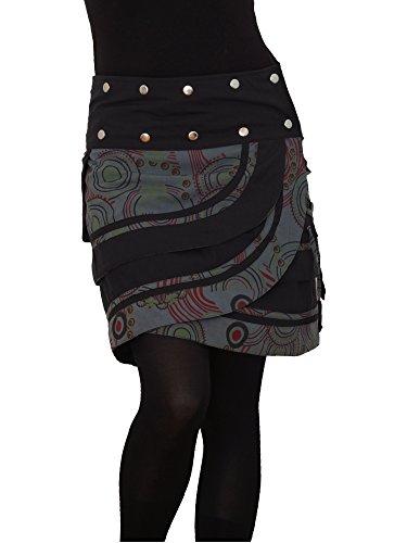 PUREWONDER Damen Wickelrock Baumwolle Rock mit Tasche sk181 Grau Einheitsgröße verstellbar