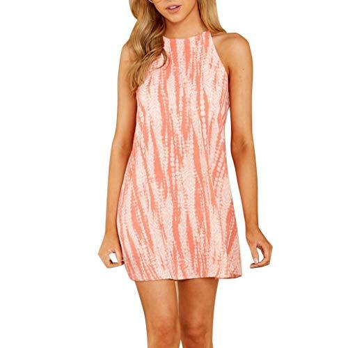 Yvelands Damen Ärmelloses Tunika-Kleid für Frauen mit Rundhalsausschnitt Beiläufige, locker sitzende Gradienten-Kleider(Orange,XL)