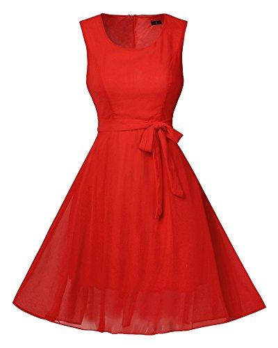 Femmes Swing Robe de Soirée/Bal Cocktail Imprimée Rockabilly Robes Rouge