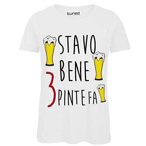 CHEMAGLIETTE! T-Shirt Divertente Donna Maglietta con Frase sulla Birra Stavo Bene 3 Pinte fa Tuned Bianco