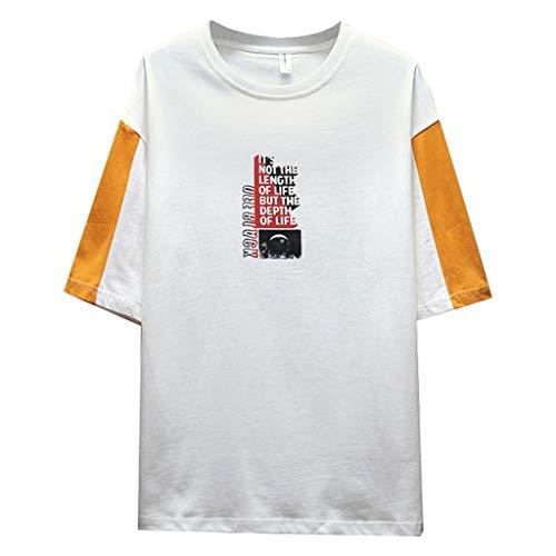 Tyoby Herren Mode halbe Hülse Nähen T-Shirt Bedrucken,Straße Hipster Persönlichkeit Herrenbekleidung (GelbA,XXL)