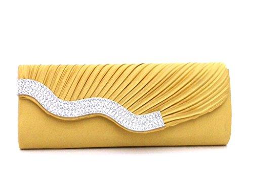 Heyjewels Damentasche Clutch Handtasche Brauttasche Abendtasche mit Strass für Hochzeit und Party Gelb
