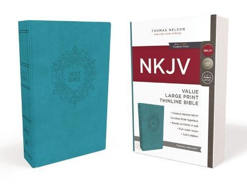 NKJV, Value Thinline Bible, Large Print, Imitation Leather, Blue, Red Letter Edition