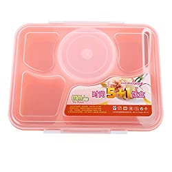 Generic 1 set 2016 Hot Sale Portable Microwave Bento Lunch Box for Kids 5+1 Food Container Storage plastic carrying Food Box Lunchbox- Pink