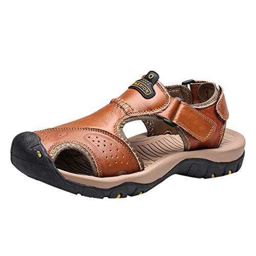 Sandali sportivi da uomo estive sandali in pelle punta chiusa scarpe da trekking sandali uomo estivi pelle, sportivi uomo donna zoccoli spiaggia giardinaggio pantofole scarpe da mare