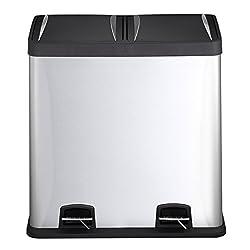 Mari Home 60 Liter Fingerabdruck-Beweis Edelstahl Mülltrenner Mülleimer Treteimer mit Inneneimer (mit 2 Kammern, 2x30 L)