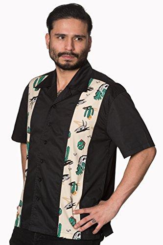 Verbotene verlorene und gefundene Männer PLUS GRÖSSE Weinlese Rockabilly Hemd Schwarz