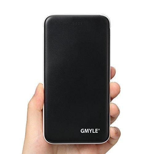 GMYLE USB-C-Powerbank 5000 mAh, schmales tragbares externes USB-Ladegerät mit integriertem Micro-USB-Kabel und USB-Adapter Typ C (schwarz) für iPhone, Samsung S8/S8+, Google Nexus, LG und andere Geräte
