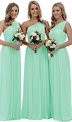 Eine Schulter Chiffon Lange Brautjungfer Kleider Prom Party Ballkleid Brautstrand Rock (Mint Green-14)
